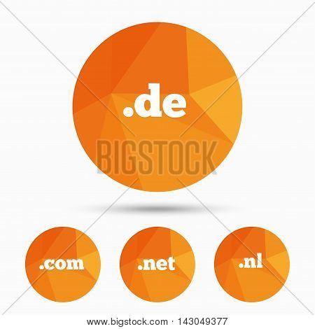 Top-level internet domain icons. De, Com, Net and Nl symbols. Unique national DNS names. Triangular low poly buttons with shadow. Vector