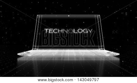 Digital 3D Rendering With Wireframe Of Notebook Standing On Reflective Floor With A Technology Word