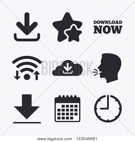 Download now icon. Upload from cloud symbols. Receive data from a remote storage signs. Wifi internet, favorite stars, calendar and clock. Talking head. Vector