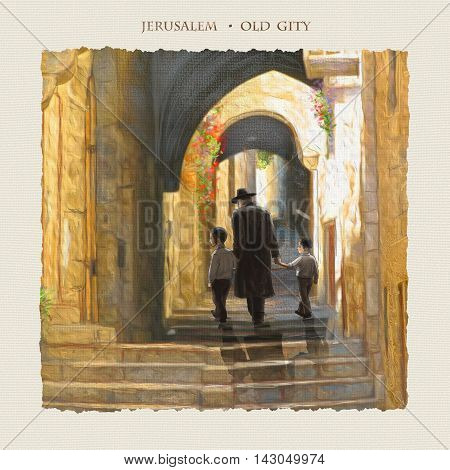 Jerusalem Old City, street. Israel. David's city - old city of Jerusalem. Illustration. People traveling. Hand Drawn. Oil Painting. Jewish Holidays. Torah, Judaism, Rosh Ha Shana, Sukkot, bar mitzvah, Passover.