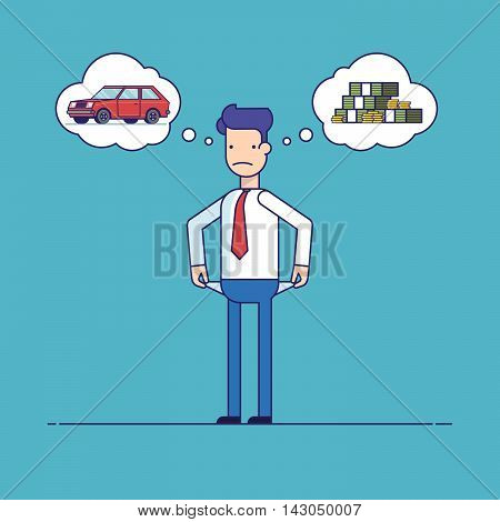 Businessman with no money, bankrupt. Man dreams of a car. The manager thinks about the financial issue. Poor man. Character in flat style. Thin line vector illustration isolated on a blue background