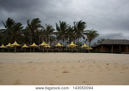 Monsoon storm tempest on the beach with palms and umbrellas. Large summer monsoon rain on the beach. Mui Ne South Vietnam Asia.