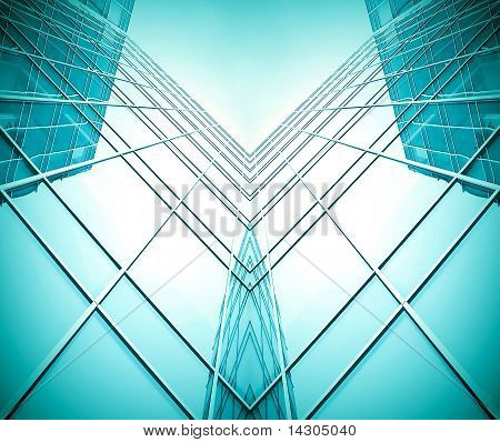 Symmetric Wall Of Glass Building In Haze