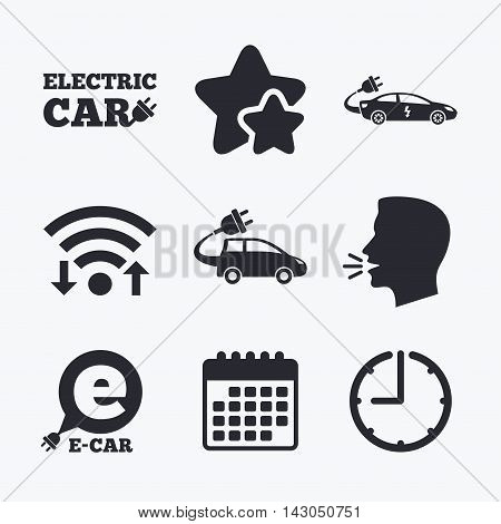 Electric car icons. Sedan and Hatchback transport symbols. Eco fuel vehicles signs. Wifi internet, favorite stars, calendar and clock. Talking head. Vector