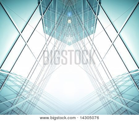 Symmetrische Wand aus Glas-Gebäude In Haze