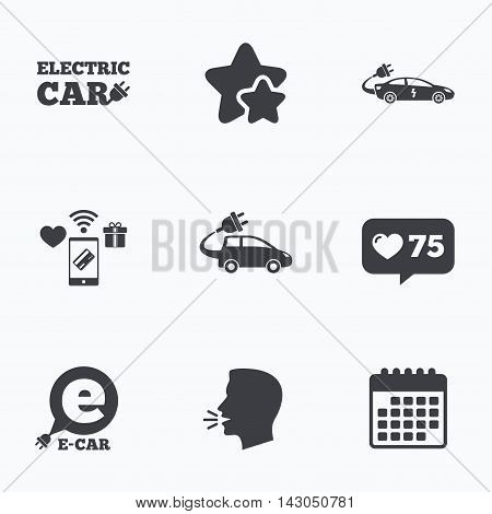 Electric car icons. Sedan and Hatchback transport symbols. Eco fuel vehicles signs. Flat talking head, calendar icons. Stars, like counter icons. Vector