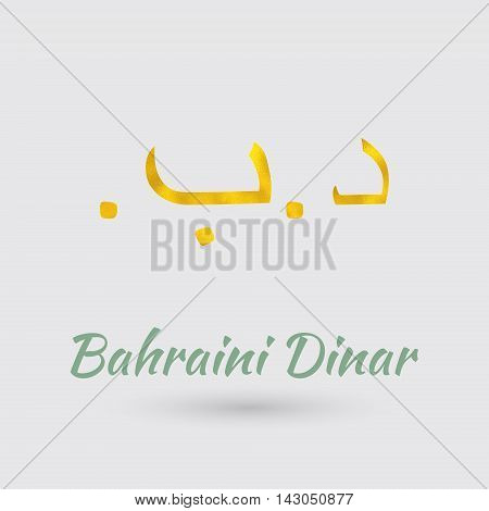 Symbol of the Bahrain Currency with Golden Texture.Vector EPS 10