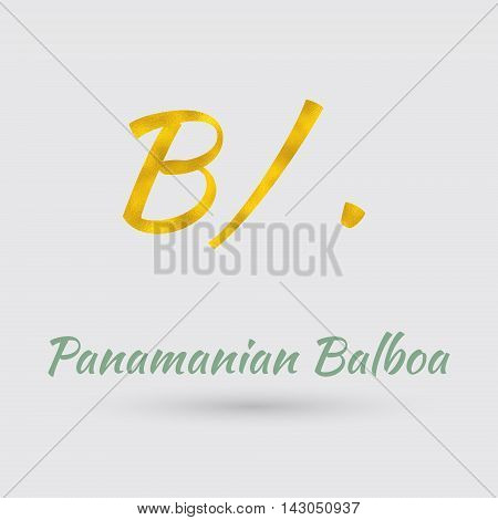 Symbol of the Panama Currency with Golden Texture.Vector EPS 10