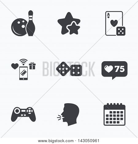 Bowling and Casino icons. Video game joystick and playing card with dice symbols. Entertainment signs. Flat talking head, calendar icons. Stars, like counter icons. Vector