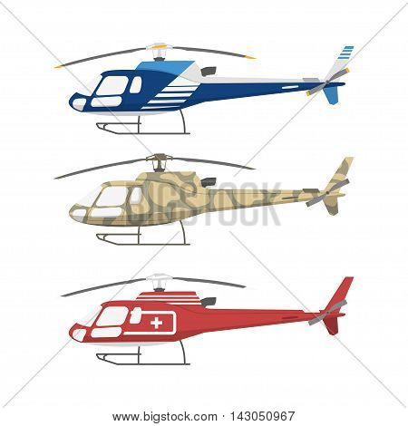 Civil military and medical helicopters . Side view. Vector illustration