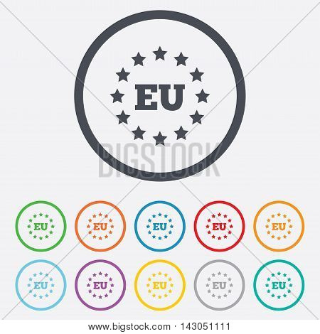 European union icon. EU stars symbol. Round circle buttons with frame. Vector
