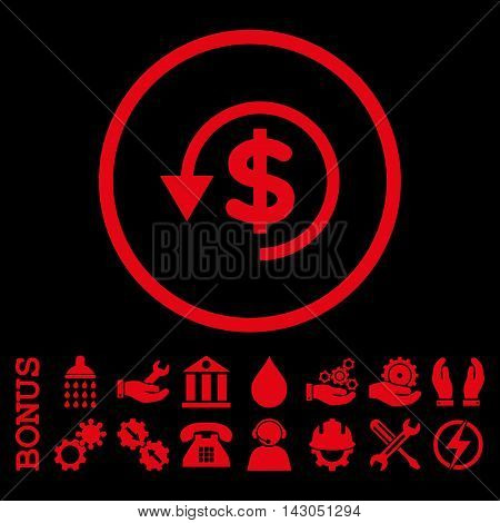 Chargeback glyph icon. Image style is a flat pictogram symbol inside a circle, red color, black background. Bonus images are included.
