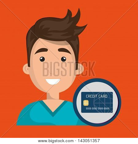 man credit card money vector illustration graphic