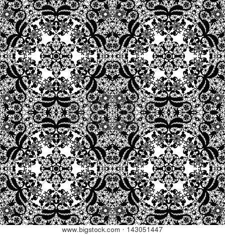 Lace black seamless pattern colors elegant print white background