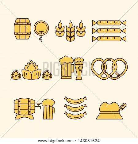 Unique and modern set of beer related icons isolated on background. Perfect symbols of brewing process and beer industry - beer glasses and mugs sausages and wheat. Octoberfest series. Line vector.