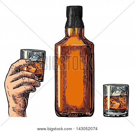 Whiskey bottle and hand holding glass. Vintage color vector engraving illustration for label poster invitation to party and birthday. Isolated on white background