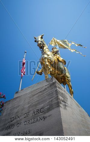Golden Bronze Statue Joan Of Arc