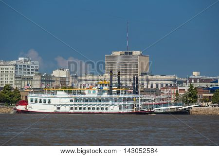 New Orleans Downtown With Mississippi River