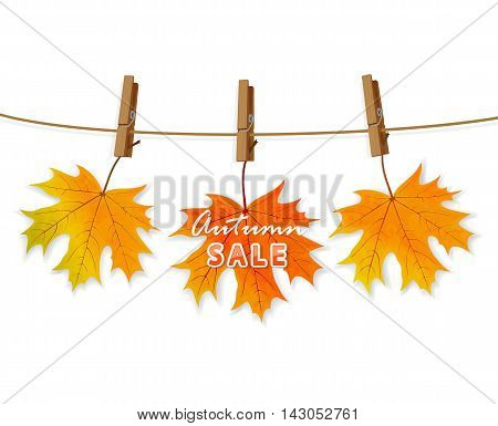 Autumn sale on orange maple leaf with clothespins on a rope, isolated on white background, illustration.