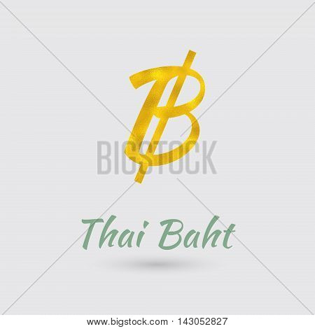 Symbol of the Baht Currency with Golden Texture. Text with the Thailand Currency Name.Vector EPS 10