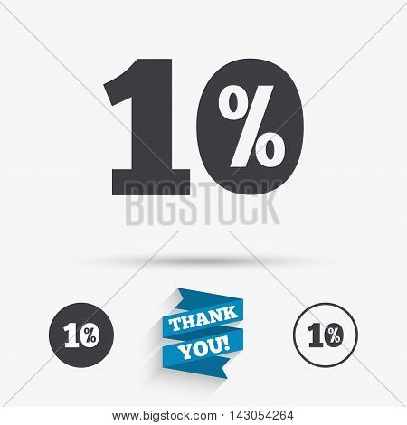 10 percent discount sign icon. Sale symbol. Special offer label. Flat icons. Buttons with icons. Thank you ribbon. Vector
