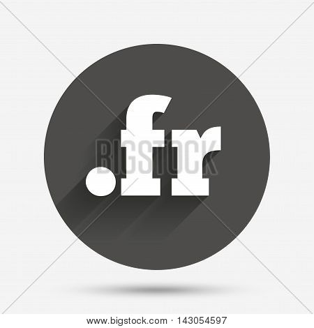 Domain FR sign icon. Top-level internet domain symbol. Circle flat button with shadow. Vector