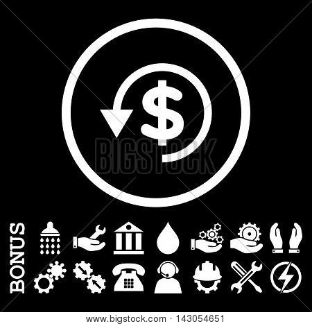 Chargeback glyph icon. Image style is a flat pictogram symbol inside a circle, white color, black background. Bonus images are included.