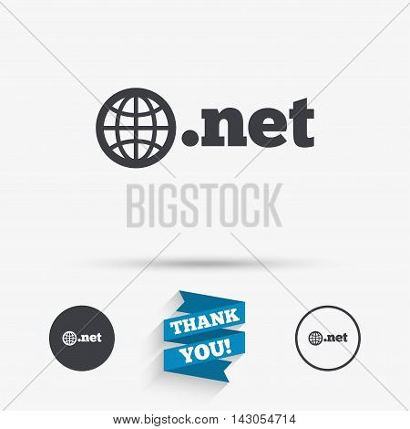 Domain NET sign icon. Top-level internet domain symbol with globe. Flat icons. Buttons with icons. Thank you ribbon. Vector