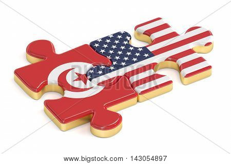USA and Tunis puzzles from flags 3D rendering