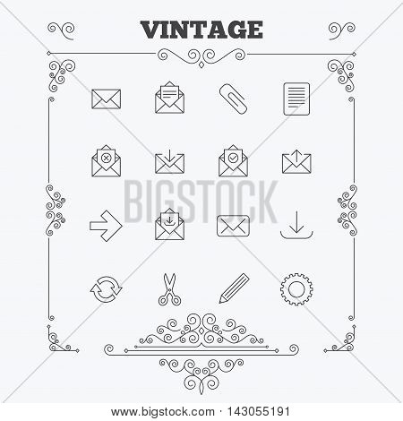 Mail services icons. Send mail, paper clip and download arrow symbols. Scissors, pencil and refresh thin outline signs. Receive, select and delete mail. Vintage ornament patterns. Decoration design elements. Vector