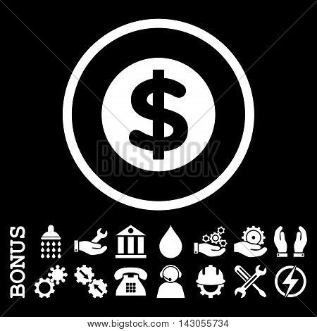 Finance glyph icon. Image style is a flat pictogram symbol inside a circle, white color, black background. Bonus images are included.