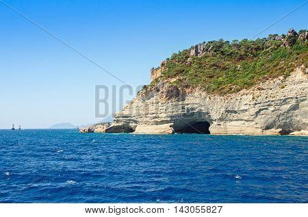 Mediterranean sea landscape view mountains with a grotto Kemer Antalya region Turkey