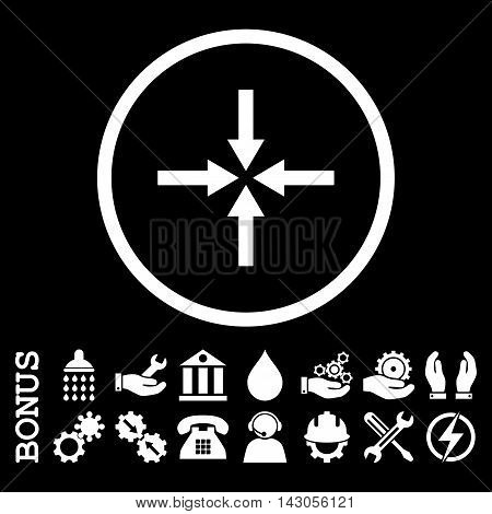 Impact Arrows glyph icon. Image style is a flat pictogram symbol inside a circle, white color, black background. Bonus images are included.