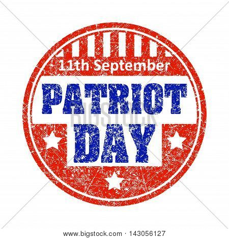 11Th September Patriot Day Colorful Grunge Style Rubber Stamp Emblem