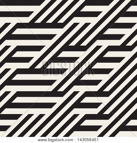 Vector Seamless Black and White Diagonal Lines Irregular Pattern. Abstract Geometric Background Design