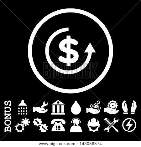 Refund glyph icon. Image style is a flat pictogram symbol inside a circle, white color, black background. Bonus images are included.