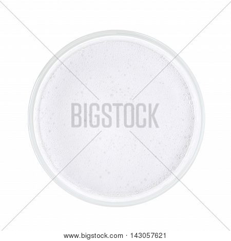 Top view of white sparkling tonic water with bubbles and foam. Isolated on white with clipping path