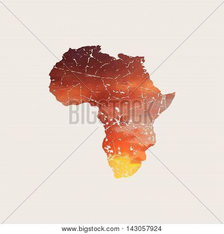 Africa map. Africa grunge logo. Africa logog design