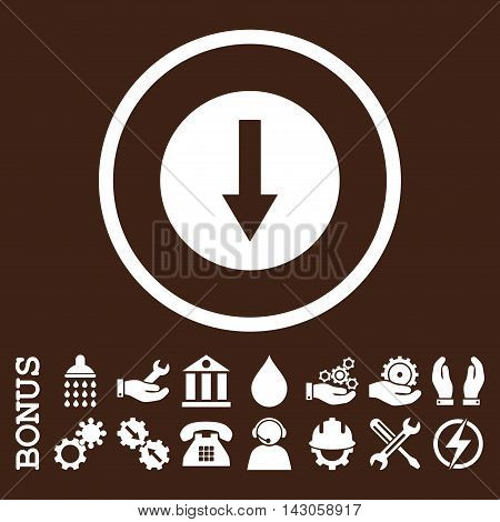 Down Rounded Arrow glyph icon. Image style is a flat pictogram symbol inside a circle, white color, brown background. Bonus images are included.