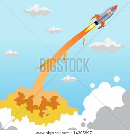 Launch space rocket afternoon. Vector illustration the flying-up rocket leaving a mark from stars. Rocket launch illustration. Rocket Launch Flat - Vector Illustration.