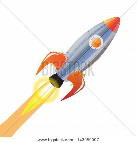 Rocket vector and technology space ship rocket cartoon icons. Speed galaxy fantasy rocket and futuristic spacecraft, astronaut modern element.