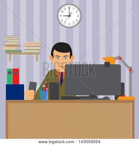 the work of the specialist. Working station for use with a computer. Large, bright room. Vector illustration.