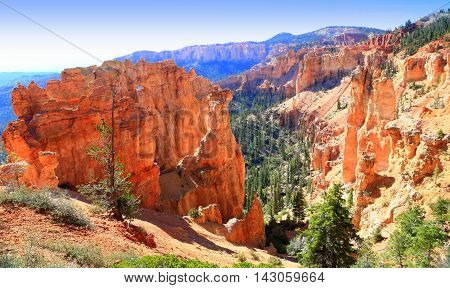Hoodoo geological rock formation at Bryce Canyon National Park Utah