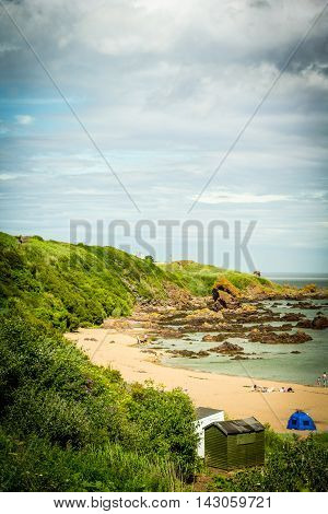 Beautiful Scottish coastline with sandy beach, UK