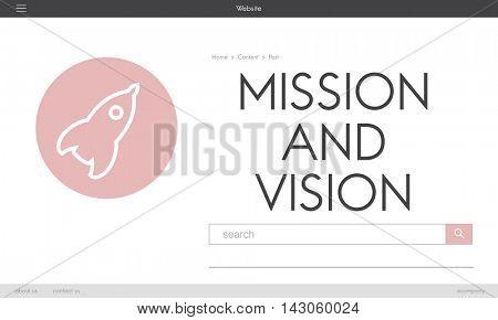 Ideas Business Mission Vision Rocketship Spaceship Graphic Concept