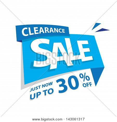 Clearance Sale Blue Tag 30 Percent Heading Design For Banner Or Poster. Sale And Discounts Concept.