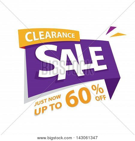 Clearance Sale Purple Yellow 60 Percent Heading Design For Banner Or Poster. Sale And Discounts Conc