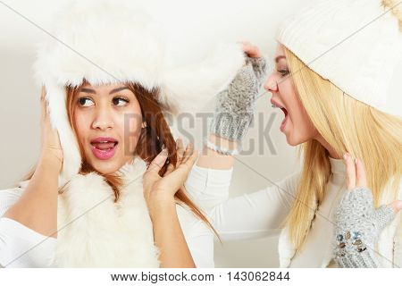Blonde Woman Screaming On Her Friend.