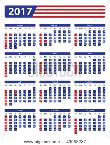 USA calendar 2017 with official holidays and non-working days - week starts on sunday