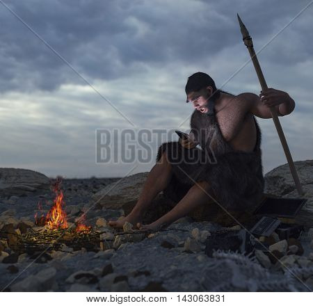 primitive man siting on the stone with smartphone concept 3d illustration